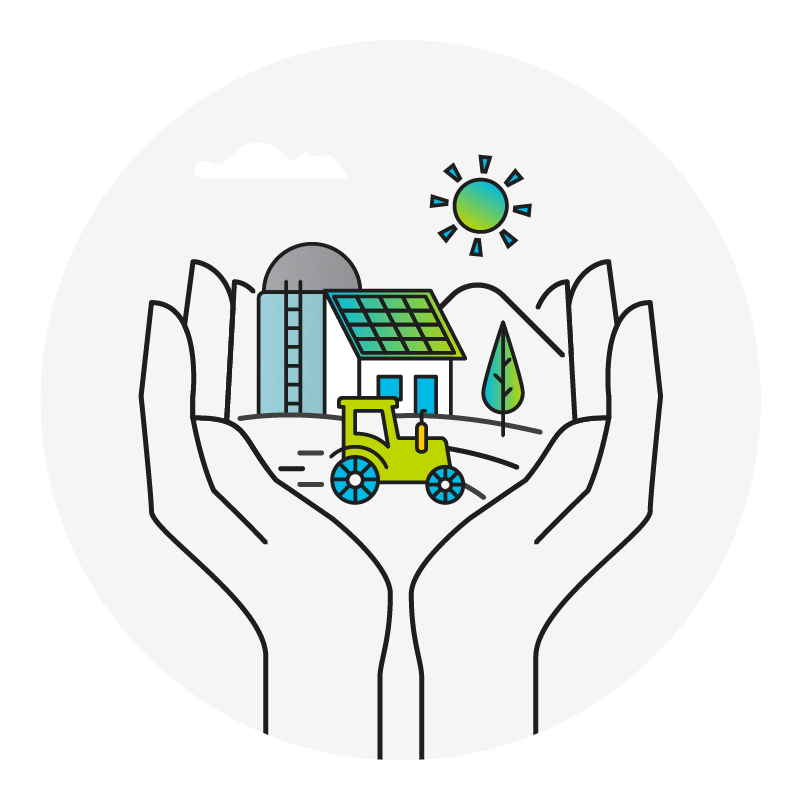 graphic of hands holding a scene with a tractor and farm buildings