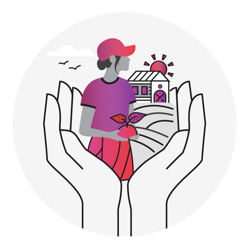 graphic of hands holding a scene of a female farmer holding produce with the farm in the background