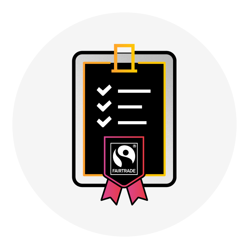 clipboard graphic with a checkmark list and the Fairtrade logo